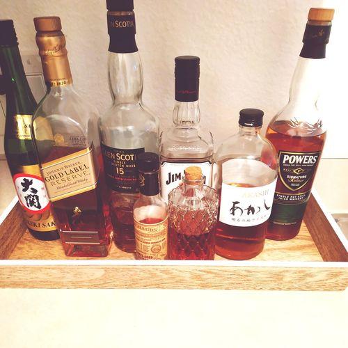 Choice Scotch Johnny Walker Glen Scotia Sake Japanese Whisky Variation Drink Jar Table Bottle Close-up