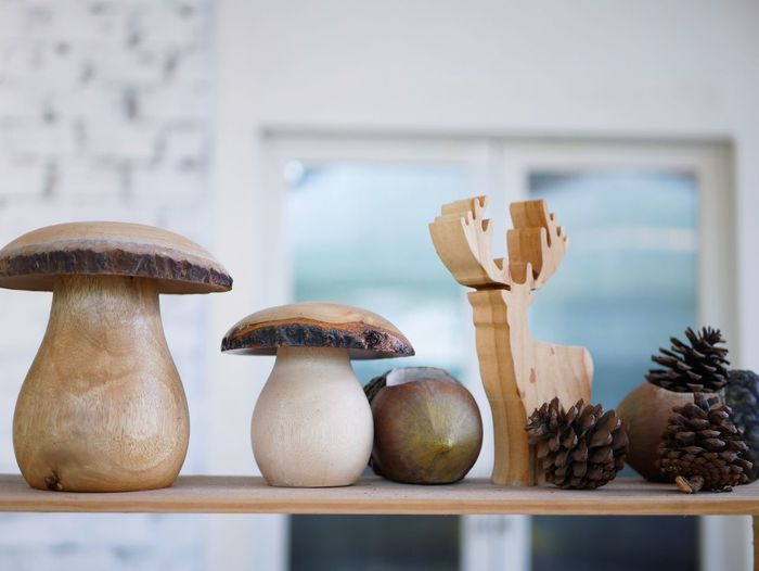 Food Food And Drink Vegetable Focus On Foreground Mushroom No People Fungus Healthy Eating Wellbeing Wood - Material Edible Mushroom Growth Indoors  Close-up Freshness Nature Group Of Objects Plant Still Life