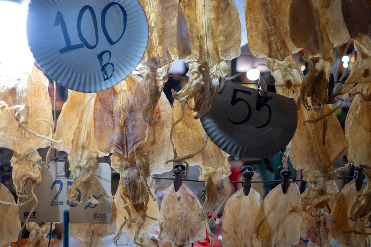 Low angle view of decorations hanging at market stall