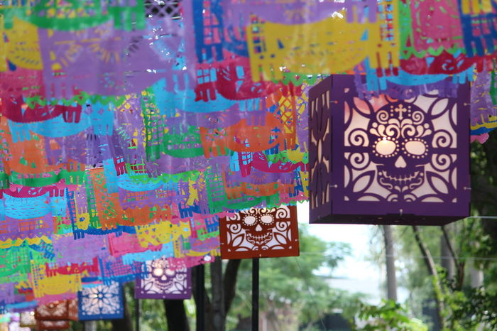 Multi Colored Papel Picado Calaveras México Folklore