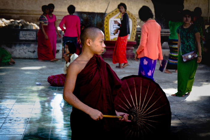 As we walked through the temples of Myanmar, we met many children dressed in the traditional attire of the monks, so I decided to research about them. They assist monastic schools, institutions that provide basic education to children that they otherwise wouldn't be able to afford. Education is a human right, and everyone should have the opportunity to have the tools to lift themselves out of poverty and fully participate in society. I wish this to every child on this planet: free education and institutions that can help them to grow individually and together make this world a better place. ASIA Ananda Ancient Burma Temple Mynamar Pagoda Ruins Treasure Archeological Bagan Canon Landscape Monk  Outdoors People And Places Red