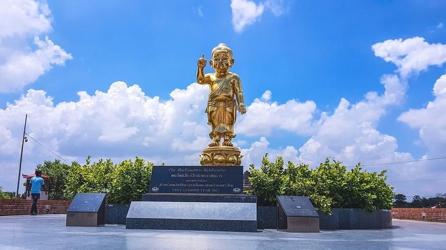 Statue Sculpture Cloud - Sky Human Representation Sky Gold Colored Gold Architecture Travel Destinations Outdoors No People Day Peace Nepal Mobile Photography Buddha Lumbini, Nepal Architecture