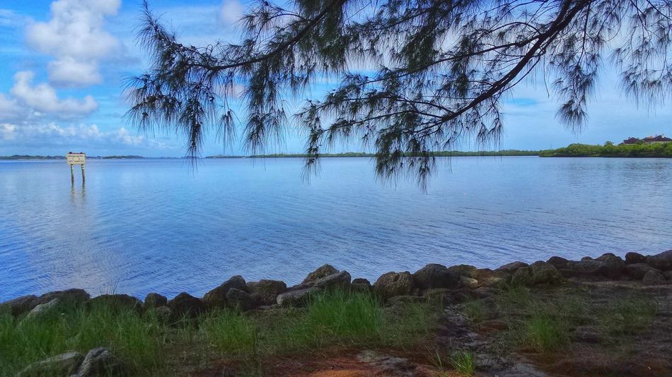 Indian River Lagoon Peaceful View Clouds And Sky No One Around