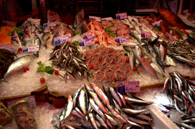 Choice Close-up Crete Market Fish Market Food Food And Drink For Sale Freshness Healthy Eating Horizontal Indoors  Large Group Of Objects Market Market Stall Night No People Price Tag Retail  Seafood Variation