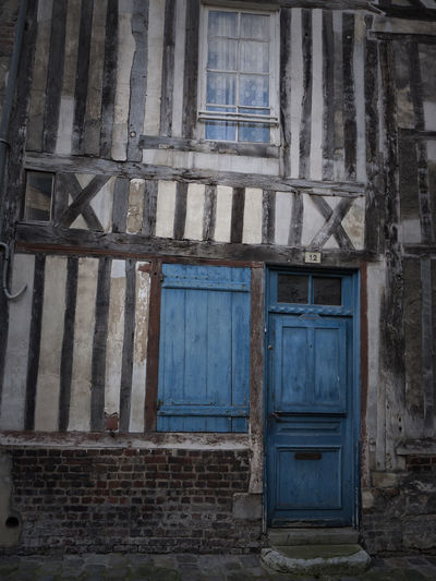 Blue door Architecture Bad Condition Blue Door Closed Construction Door Entrance Everything In Its Place France France Streets House Obsolete Old Timber Framed House Timber Framing Wall