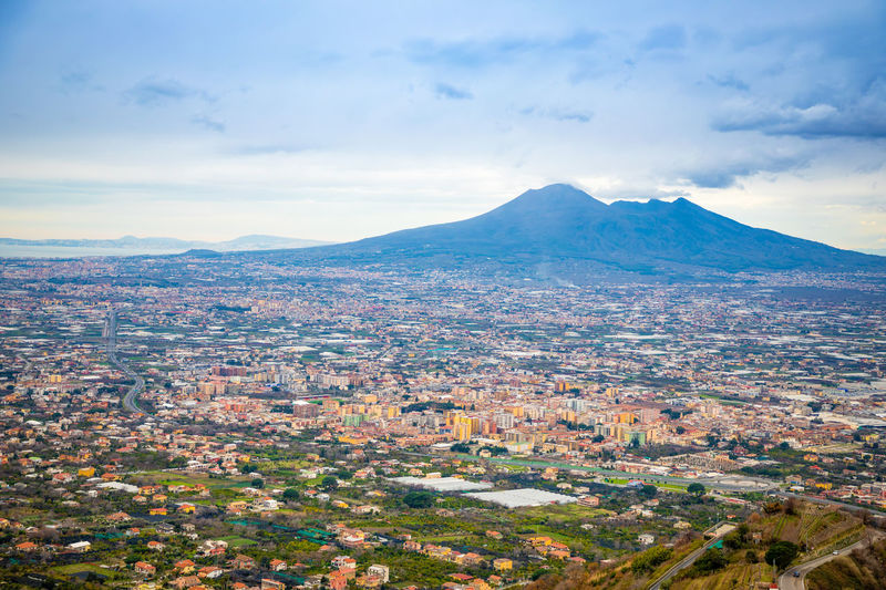 Pompeii  Italy Vesuvio Volcano Panorama Landscape City Mountain Nature Cloud - Sky Sky Environment Scenics - Nature Beauty In Nature Architecture Building Exterior No People Day Built Structure Mountain Range Residential District Building Cityscape Tranquil Scene Outdoors TOWNSCAPE Snowcapped Mountain