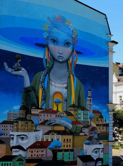 "By ""Interesni kazki"" 💙💛Mural Mural Art Ukrainian Girl Ukrainian  Art Amazing Photo Ukraine Kiev Kyiv City Paint Streetart"