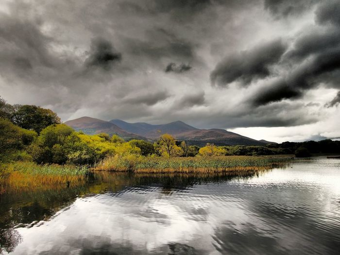 Lough Leane Beauty In Nature Nature Reflection Dramatic Sky Scenics Landscape Landscapes Mountain Range Mountain Lake Outdoors Lough Leane Purple Mountain Travel Destinations Ireland Killarney  Lough Lake View Reflection Lake Autumn Autumn Colours