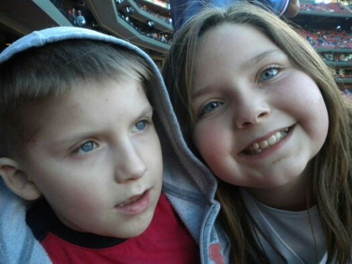 Looking At Camera Headshot Togetherness Smiling Family Brother & Sister Son And Daughter Amazing Kids My World ♥ Lovelovelove Autismdad Autistic Boy Big Sister Little Brother  Loving Life! ! ! Ball Game Go Cardinals