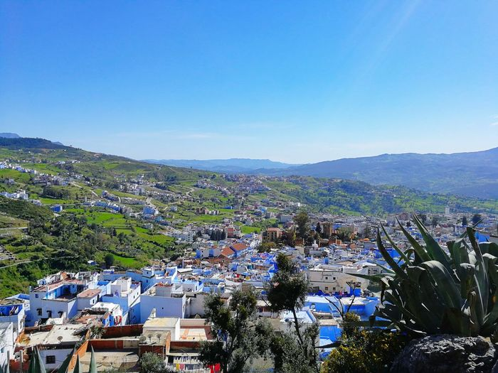 Chefchaouen, 17-04-18 Maroc Marocco Morocco Huawei Huaweiphotography Huawei P10 EyeEm EyeEm Best Shots EyeEmNewHere Travel Photography Travel EyeEm Selects Summer Exploratorium Visual Creativity Travel Destinations Blue Chefchaouen Rif Mountains Clear Sky Mountain City Cityscape High Angle View Sky Architecture Building Exterior Idyllic Remote Calm Aerial View