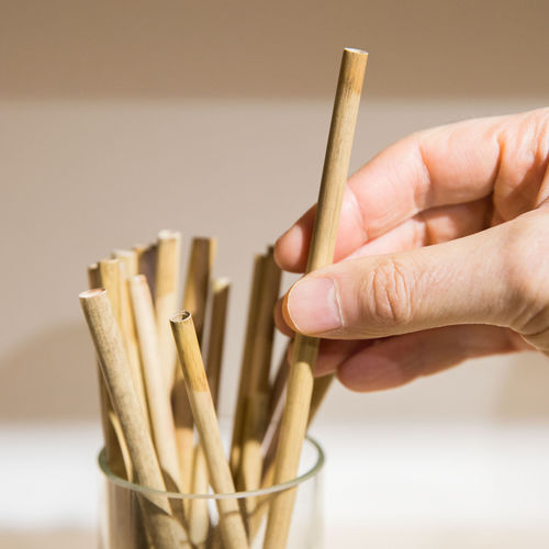Close-up of hand holding wooden straw