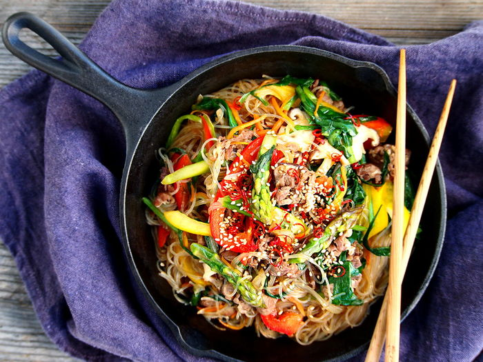 One of the easiest Korean food recipe is Japchae. Very popular in Japan, too and I like it. Dinner Food Styling Korean Food Lunch Noodles Close-up Food And Drink Freshness Healthy Eating Indoors  Table Vegetable