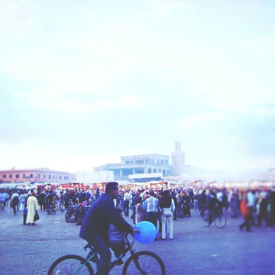 Marrakesh Marrakech Jemaa El Fnaa Ballon Blue Scenic Large Group Of People Crowd Father Father And Son Time