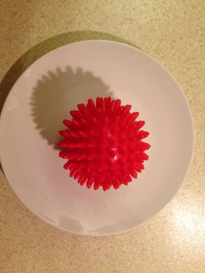 High Angle View Close-up Spiked Shadow And Light 3D Spikes Spikey Ball Plate