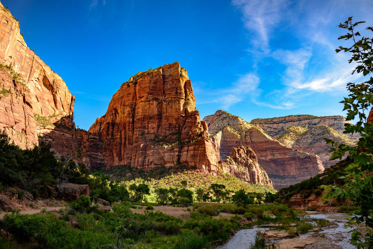 Low Angle View Of Angels Landing In Zion National Park