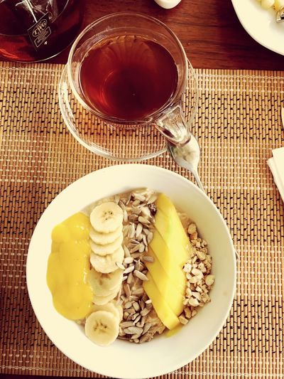 Food And Drink Freshness Healthy Eating Plate Table No People Breakfast Refreshment Fruit Tea - Hot Drink Close-up Fruits Birchermuesli Sunny Bali, Indonesia