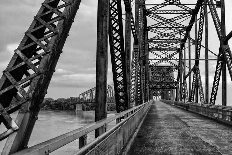 Chain Of Rocks Bridge Connection Bridge - Man Made Structure Architecture Engineering Built Structure Bridge Metal Transportation No People Sky Missouri Outdoors Water Girder Underneath St Louis Mississippi  Mississippi River Blackandwhite Black And White Illinois Chain Of Rocks Close-up Route 66