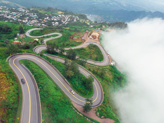 High angle view of winding road on mountain