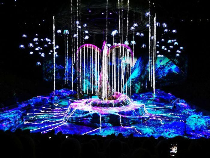 Toruk - Cirque du Soleil Cirque Du Soleil Toruk Circus Futuristic Technology Illuminated Multi Colored City Pixelated Blue Close-up