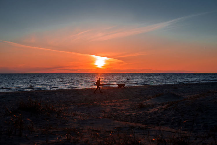 Silhouette of man and dog  on beach against sky during sunset