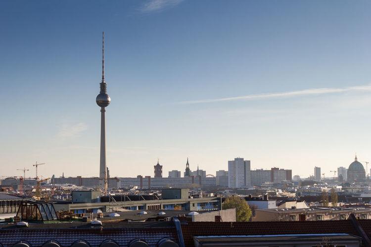 Berlin cityscape against clear sky