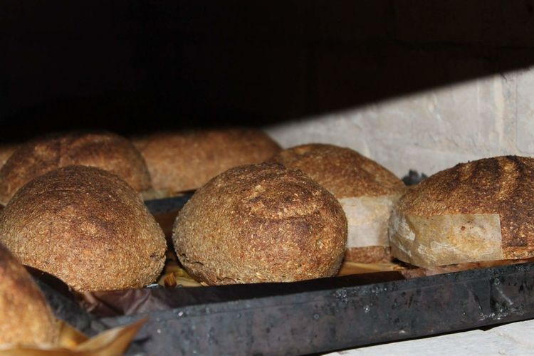 Close-up of bread on display at store