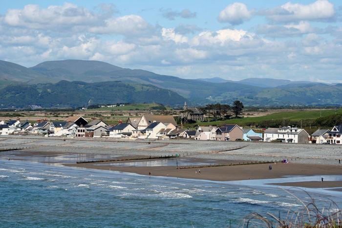 Borth Wales Borth Coastline Country Hills Houses Pebble Beach Print Wales Beach Blue Countryside Distance Land Landscape Mountain Mountain Range Outdoors Sea Seascape Sky Uk Water Waterfront Waves