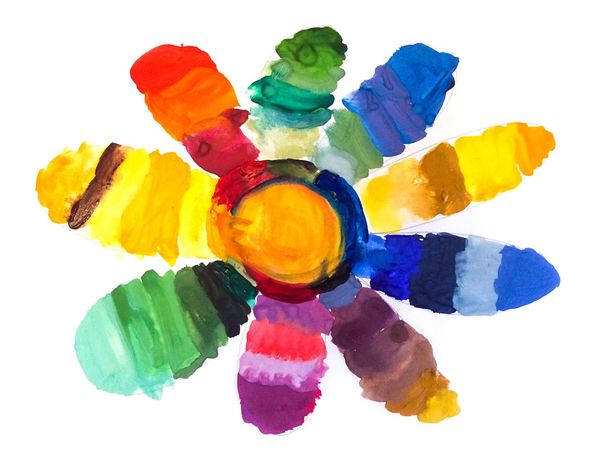 Child Drawing Drawing - Art Product Drawing Picture Flower Paint Multi Colored White Background Abstract Watercolor Painting Colorful Red Green Blue Yellow Imagination No People Alex Drawing 7 Years Old Алекс рисует 2 Lesson Gouache Watercolor Hand Drawing