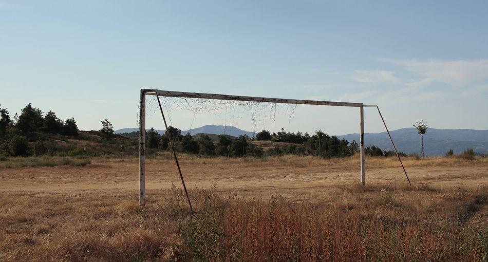 Damaged goal on field