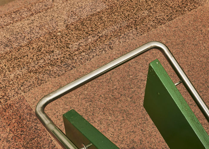Architecture Curve Green Color Red Stairs Tube Close-up Metal Pipe
