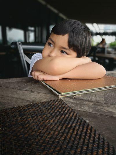 Restaurant Waiting EyeEm Selects Child Childhood Portrait Girls Headshot Close-up