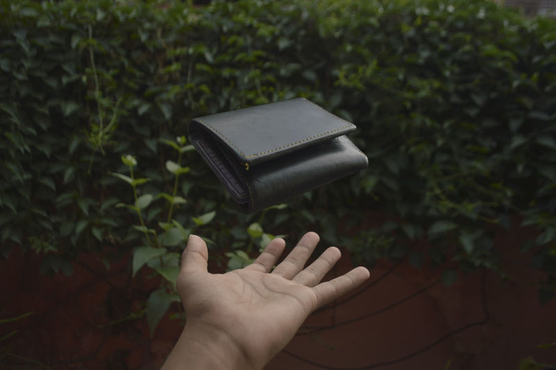 Close-up of person holding wallet against plants