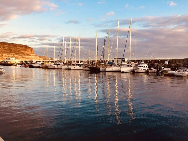 Harbor and reflection Sea Life Landscape Photography Sea Sea And Sky Harbor View Boats Reflection Reflections In The Water Sunset Water Sky Cloud - Sky Nautical Vessel Sailboat Transportation Reflection Nature Mast Sea No People Mode Of Transportation Beauty In Nature Marina