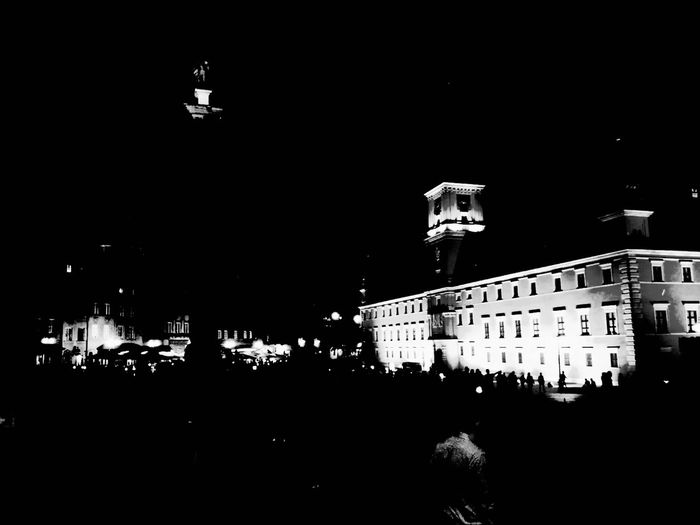 Poland Warsaw Night City City Street Nightphotography Warsaw Old Town Royal Castle Warsaw Royalcastle Castle First Eyeem Photo Blackandwhite Blackandwhite Photography Black And White