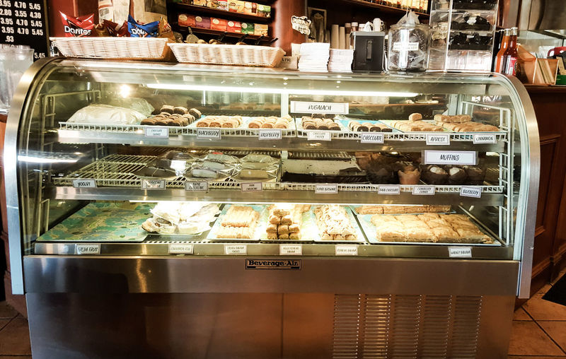High angle view of ice cream in store