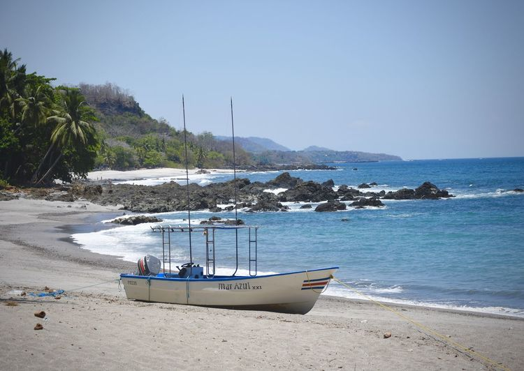 Beach Boat Clear Sky Sand Sea Shore Tranquil Scene Vacations Water
