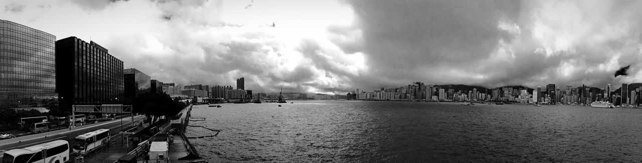 Shadows & Lights IPhoneography Light And Shadows Rainy Days Pattern, Texture, Shape And Form Building And Sky Street Photography Victoria Harbour Light And Shadow Hong Kong Skyline Clouds And Sky Panorama Black And White Blackandwhite EyeEm Best Shots - Black + White