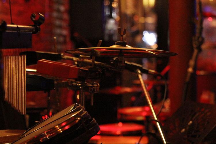 Close-up of drum set