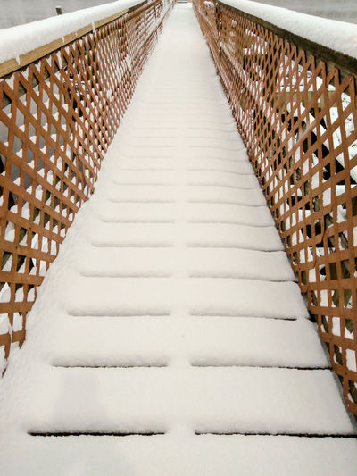 Winter Walkway Cloudy White Cold Wood Peaceful Calm Brown Pier River No People The Way Forward Day Symmetry Outdoors