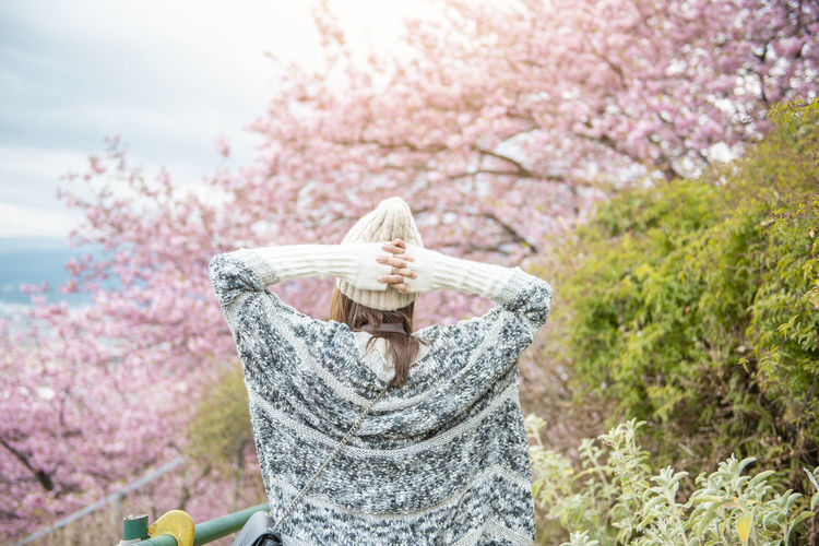 Midsection of woman with pink flower tree
