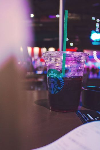 EyeEmNewHere Drink Drinking Straw Indoors  Food And Drink Drinking Glass Close-up Refreshment No People Freshness Cocktail Alcohol Night Nightphotography Night Lights Night Photography Neon Lights Colors Colorful Lights Starbucks Coffee Starbucks Raspberry Tazo Chilling