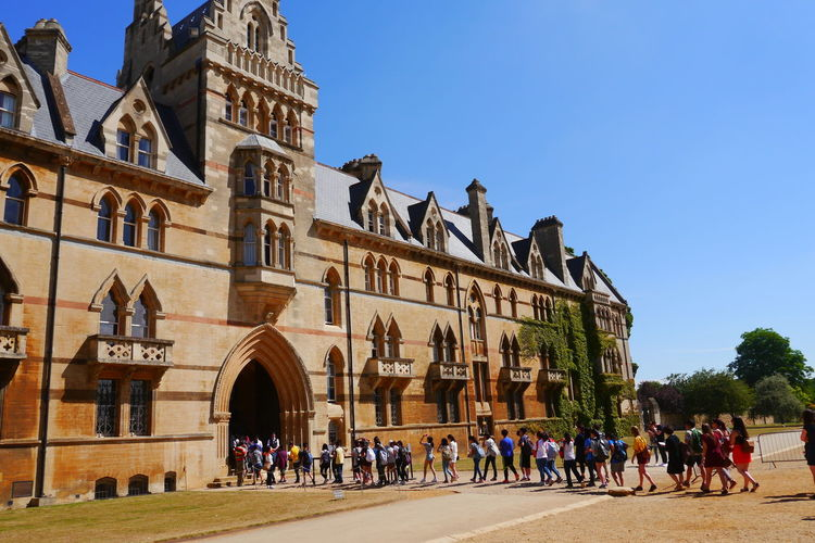 Christchurch College Architecture Building Exterior Built Structure Clear Sky Day History Large Group Of People People Travel Destinations
