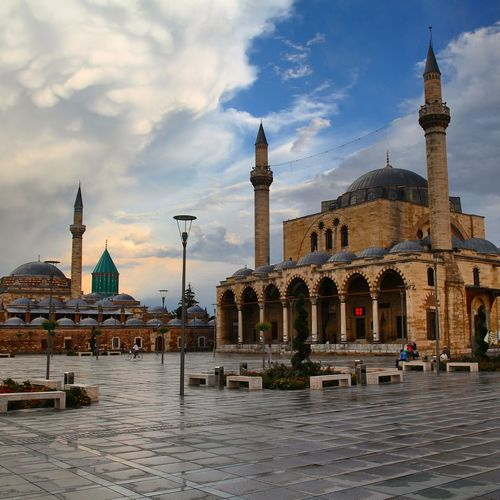 Mosque Against Cloudy Sky During Sunset