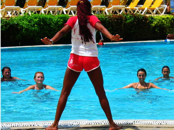 2007 Dominican Republic Dominicus Beach Aquagym Day Fun Gran Dominicus Village Outdoors Real People Smiling Swimming Pool Togetherness Vacations Water Women