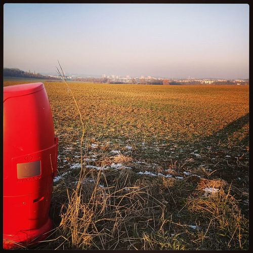 Fields Fieldscape Fields And Sky Campagne Nature Champs Bouchedincendie Borneincendie Rouge Red Redstitch No People Sky Outdoors Sunset Day Firehydrant Firehydrants