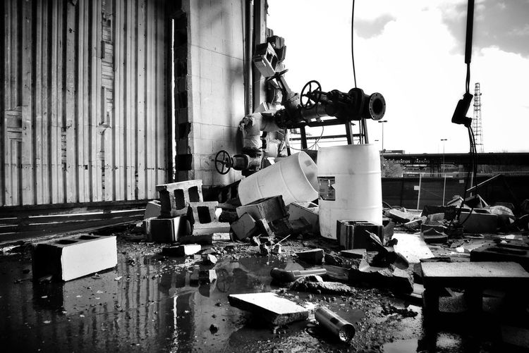 Black And White Fine Art Photography Fine Art Stills Cloud - Sky Cloud Labor Tear Down Demolition Construction Construction Site Metal Industry Manual Worker Factory Industry Occupational Safety And Health Destruction Deterioration Demolished Broken Rubble Abandoned Decline Damaged Run-down