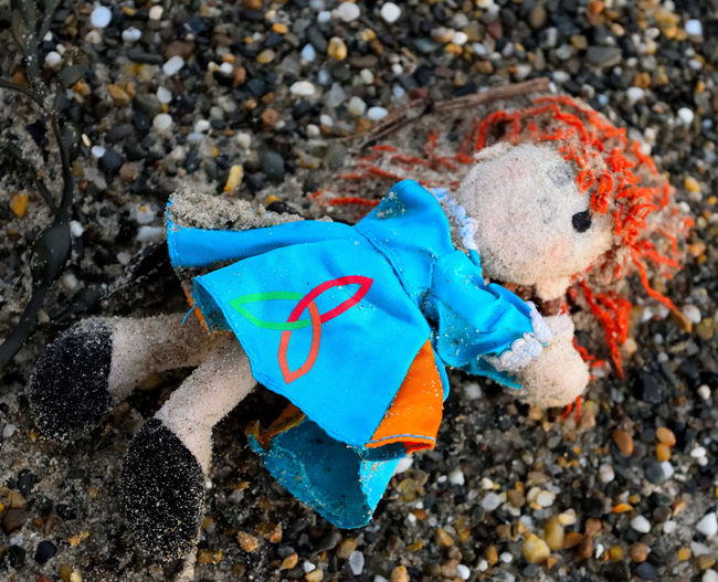 Close-up Colorful Colour Of Life Crazy Moments Debris Doll Photography Dolls Dotty Dress Eerie Flotsam Forgotten High Angle View Lost Lost Doll Lost Memories Lost Toy Missing Ragdoll Redhead Sand Sand & Sea Shingle Beach Washed Up