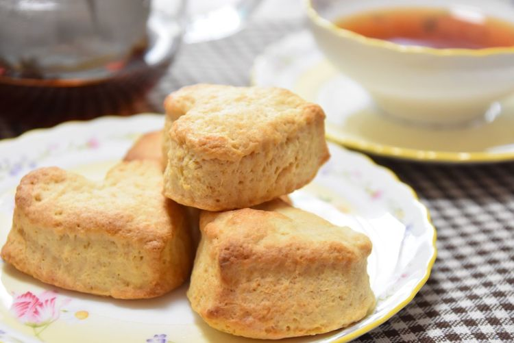 Close-up of scones served in plate on table