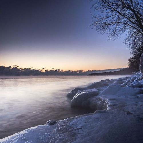 Lake ice at dawm Frozen Winter Milwaukee Mke Wisconsin Mke_illgrammers Ig_milwaukee TravelWI Blue Sunset Reflection Sky Scenics Nature Water Landscape Lake Beauty In Nature Horizon Over Water