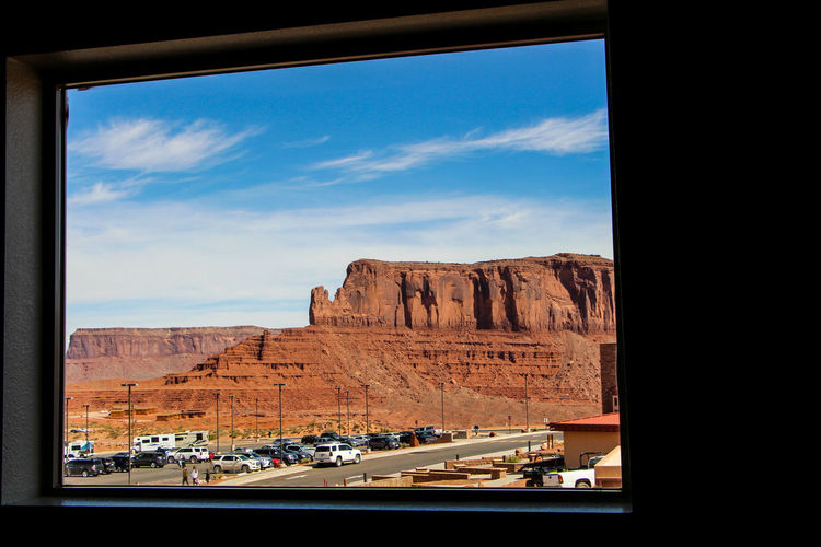 Sky Rock Rock Formation Mode Of Transportation Nature Scenics - Nature Beauty In Nature Rock - Object Mountain Day Cloud - Sky Land Vehicle Solid Transportation No People Land Environment Landscape Travel Travel Destinations Outdoors Formation Arid Climate The View Hotel Arizona Monument Valley